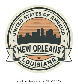 Stamp or label with name of New Orleans Louisiana, USA, vector illustration