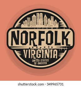 Stamp or label with name of Norfolk, Virginia, vector illustration