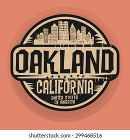 Stamp or label with name of Oakland, California, vector illustration
