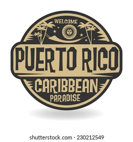 Stamp or label with the name of Puerto Rico, vector illustration