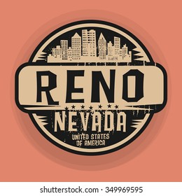 Stamp or label with name of Reno, Nevada, vector illustration