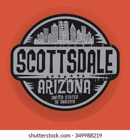 Stamp or label with name of Scottsdale, Arizona, vector illustration