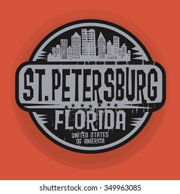 Stamp or label with name of St. Petersburg, Florida, vector illustration