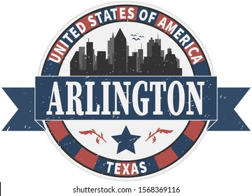 Stamp or label with name of Texas, Arlington, USA, vector illustration