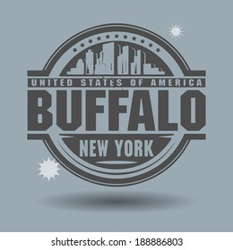 Stamp or label with text Buffalo, New York inside, vector illustration