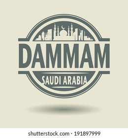 Stamp or label with text Dammam, Saudi Arabia inside, vector illustration