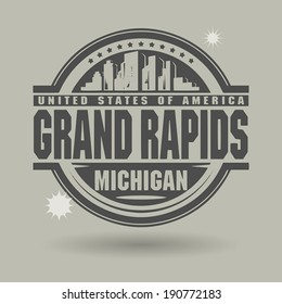 Stamp or label with text Grand Rapids, Michigan inside, vector illustration