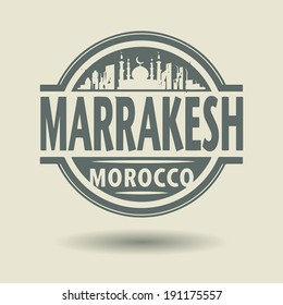 Stamp or label with text Marrakesh, Morocco inside, vector illustration