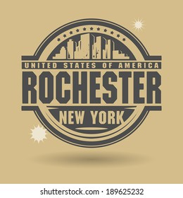 Stamp or label with text Rochester, New York inside, vector illustration