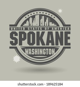 Stamp or label with text Spokane, Washington inside, vector illustration