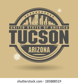 Stamp or label with text Tuscon, Arizona inside, vector illustration