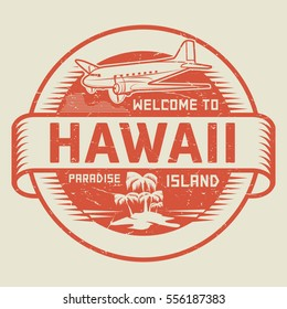 Stamp or label with the text Welcome to Hawaii, Paradise island, vector illustration.