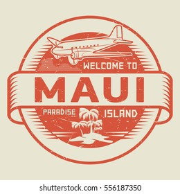Stamp or label with the text Welcome to Maui, Paradise island, vector illustration.