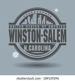 Stamp or label with text Winston-Salem, North Carolina inside, vector illustration