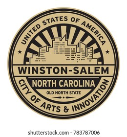 Stamp or label with text Winston-Salem, North Carolina written inside vector illustration