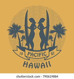 Stamp or label with the word Pacific, Hawaii written inside the stamp, vector illustration