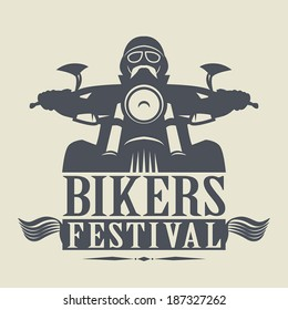 Stamp or label with the words Bikers Festival inside, vector illustration