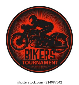 Stamp or label with the words Bikers Tournament inside, vector illustration