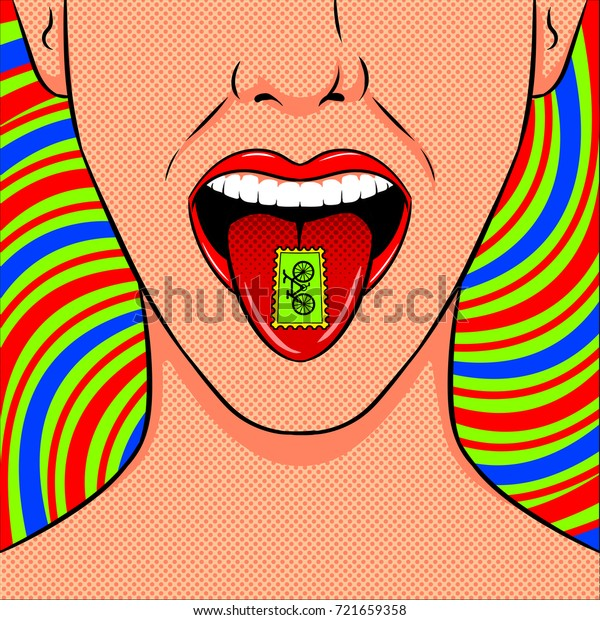 Stamp with LSD drug on tongue pop art retro vector illustration. Acid narcotic. Comic book style imitation.