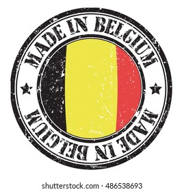 "stamp ""made in Belgium"" on the flag of Belgium"