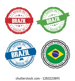 Stamp Made in Brazil label set with flag, made in Brazil, vector illustration