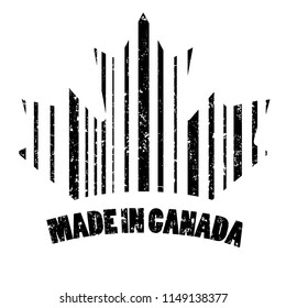 The stamp is made in Canada in the form of a bar code. Original vector illustration.