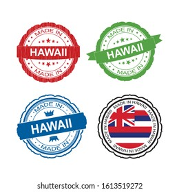 Stamp Made in Hawaii label set with flag, made in Hawaii.Vector