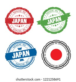 Stamp Made in Japan label set with flag, made in Japan, vector illustration