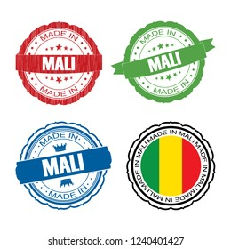 Stamp Made in Mali label set with flag, made in Mali, vector illustration