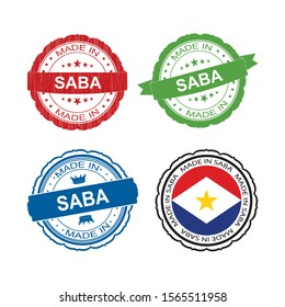 Stamp Made in Saba label set with flag, made in Saba.Vector