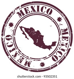stamp with Mexico map and name Mexico written inside the stamp