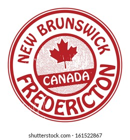 Stamp with name of Canada, New Brunswick and Fredericton, vector illustration