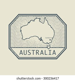 Stamp with the name and map of Australia, vector illustration