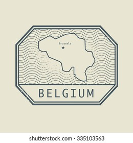 Stamp with the name and map of Belgium, vector illustration