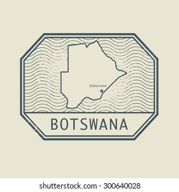 Stamp with the name and map of Botswana, vector illustration