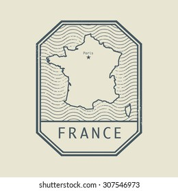 Stamp with the name and map of France, vector illustration