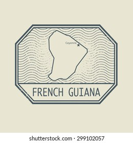 Stamp with the name and map of French Guiana, vector illustration