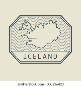 Stamp with the name and map of Iceland, vector illustration