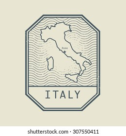 Stamp with the name and map of Italy, vector illustration