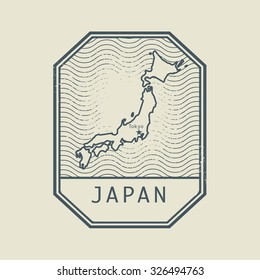 Stamp with the name and map of Japan, vector illustration