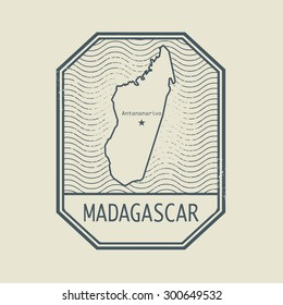 Stamp with the name and map of Madagascar, vector illustration