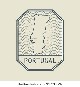 Stamp with the name and map of Portugal, vector illustration