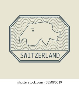 Stamp with the name and map of Switzerland, vector illustration