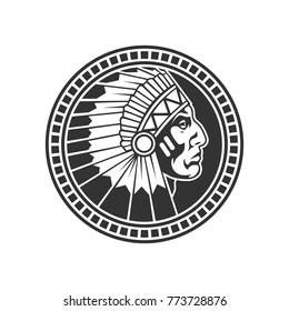 Stamp of native american male head profile. Vector illustration