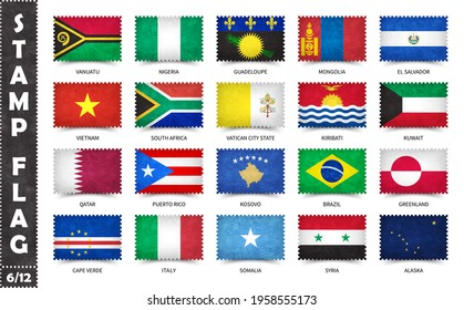 Stamp with official country flag pattern and old grunge texture and countries name . Rectangle shape . Vector . Set 6 of 12 on this series ( All national flags of the world ) .