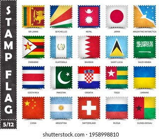 Stamp with official country flag pattern and old grunge texture and countries name . Square shape . Vector . Set 5 of 12 on this series ( All national flags of the world ) .