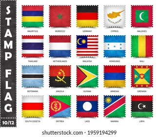 Stamp with official country flag pattern and old grunge texture and countries name . Square shape . Vector . Set 10 of 12 on this series ( All national flags of the world ) .