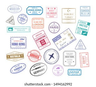 Stamp in passport for traveling an open passport. International arrival visa stamps vector set paris london mexico hawaii turkey united kingdom tokyo egypt hong kong