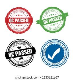 Stamp QC passed set .vector illustration