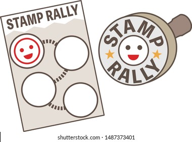 A stamp rally card and stamp / means going to different locations to collect stamps on a card